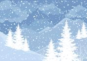 Stock Illustration of Winter mountain landscape with fir trees