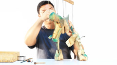 Puppeteer working Stock Footage