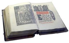 Opened Slavic ancient book written in old Cyrillic Stock Photos