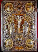 heavy rich golden cover of Orthodox Gospel - stock photo