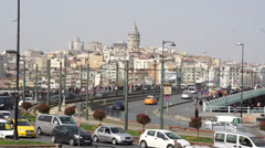 Galata Brigde and Galata Tower in Istanbul, Turkey Stock Footage