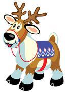 cartoon toy reindeer - stock illustration