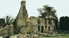 2ND WORLD WAR - Normandy house bombed (old film look) Stock Footage