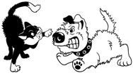 Stock Illustration of cartoon dog and cat fighting