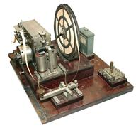 vintage morse telegraph machine - stock photo