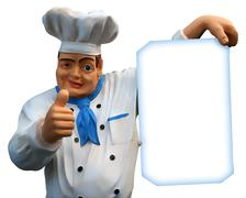 Chief cook with empty menu Stock Photos