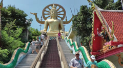 Thailand Ko Samui Island 046 stairs of the truth, big buddha, circle of life Stock Footage