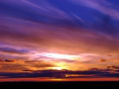 dramatic sunset horizon - stock photo
