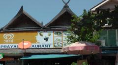 Thailand Ko Samui Island 048 a restaurant near Wat Phra Yai temple Stock Footage