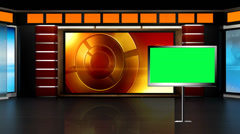 News TV Studio Set 01 - Virtual Green Screen Background Loop - stock footage