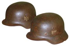 German Fascist helmets of the WW2 Stock Photos