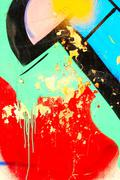 urban colorful picturesque graffiti fragment - stock photo
