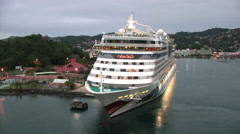 Cruise ship in port of Santa Lucia, shot from cruise ship Stock Footage