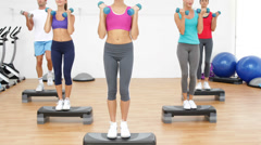 Aerobics class stepping together led by instructor and lifting dumbbells - stock footage