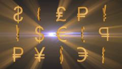 Currency signs. - stock footage