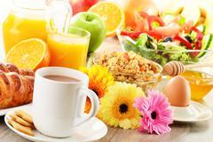Breakfast with coffee, juice, croissant, salad, muesli and egg. swedish buffet Stock Photos
