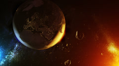 Asteroids impact over earth Stock Footage