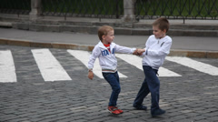 children crossing the street - stock footage