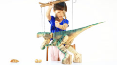 Little girl playing the marionette Stock Footage
