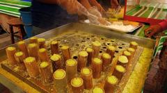 Time Lapse Malaysian Cuisine Steamed Rice Flour, Putu Bambu, Bamboo steam Flour Stock Footage