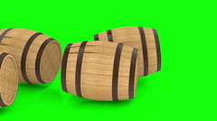 Wooden barrels with wine or beer Stock Footage