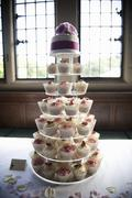 Frosted cupcakes on a seven tier cake stand, a cupcake wedding cake. Stock Photos