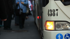 Commuters traveling by bus Stock Footage