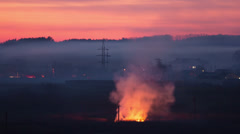 6K & 4K & HD resolution, Fire disaster indistrial city landscape Stock Footage