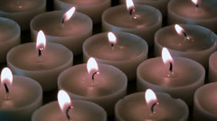 White burning candles Stock Footage