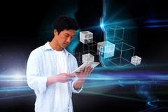 Stock Illustration of Casual man using tablet with interface