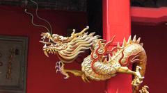 Kuala Lumpur Chinatown Quan Di Temple dragon sculpture Malaysia Asia Stock Footage