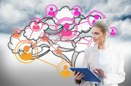 Stock Illustration of Blonde businesswoman using tablet pc with cloud computing graphic