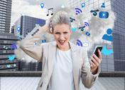 Stock Illustration of Angry businesswoman holding smartphone with cloud computing graphic