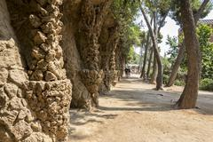 view of a particular of park guell by gaudi in barcelona spain - stock photo
