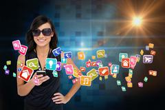 Glamorous brunette using smartphone with app icons Stock Illustration