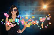 Stock Illustration of Glamorous brunette using smartphone with app icons