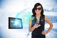Stock Illustration of Glamorous brunette using smartphone with profile pictures