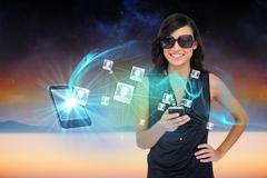 Glamorous brunette using smartphone with profile pictures Stock Illustration