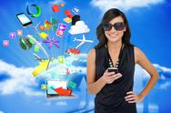 Stock Illustration of Glamorous brunette using smartphone with app icons and laptop