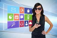 Stock Illustration of Glamorous brunette using smartphone with app icon menu