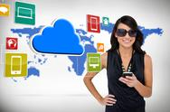 Stock Illustration of Glamorous brunette using smartphone with cloud and icons