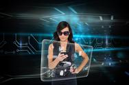 Stock Illustration of Glamorous brunette using smartphone with interface