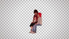 Woman & little boy on spectator seats Stock Footage