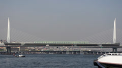 Golden Horn (Haliç) Metro Bridge in Istanbul, Turkey Stock Footage
