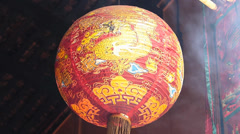Time Lapse Kuala Lumpur Chinatown Quan Di Temple Red Lantern with Dragon Stock Footage