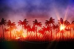 Stock Illustration of Digitally generated palm tree background