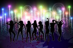 Digitally generated nightlife background - stock illustration