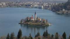 Beautiful view of Lake Bled with famous island Stock Footage