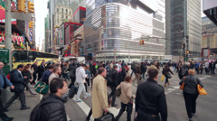 Crowd of people walking crossing intersection street time-lapse - stock footage
