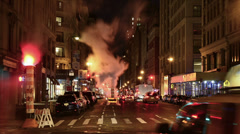 New York City Traffic at Night Stock Footage